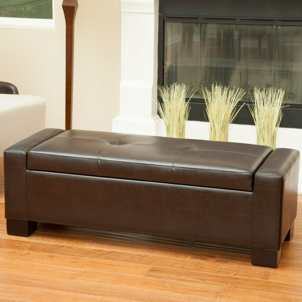 Brown Leather Storage Ottoman Bench Ebay