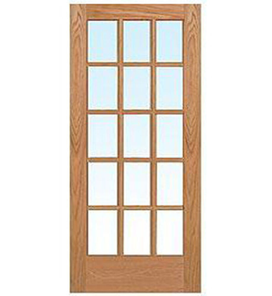 15 Lite Red Oak Clear Tempred Glass Stain Grade Solid Interior Wood French Doors Ebay