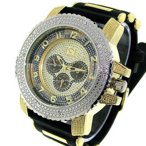 Mens iced out silver gold ice nation hip hop watch with for Rapper watches
