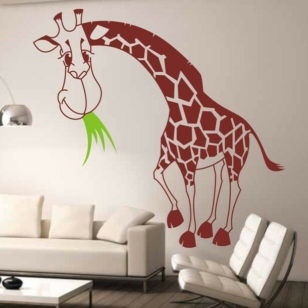 130x120cm large giraffe removable wall stickers kids baby for Baby mural stickers