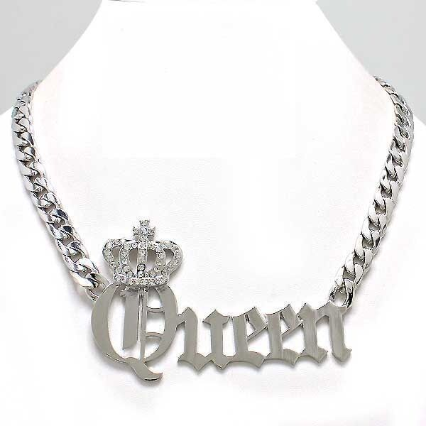 New Trendy Hip Hop Rhinestone Queen With Crown Pendant