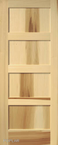 4 panel poplar equal flat mission stain grade solid core interior wood doors ebay for Solid wood panel interior doors
