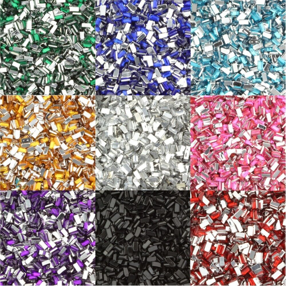 rectangle shaped rhinestone gem flatback acrylic crystals