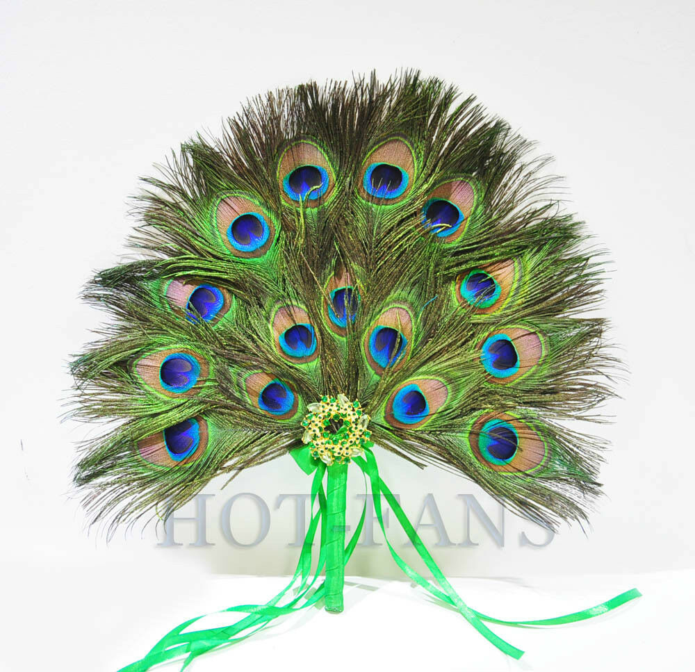 Peacock Wedding Gifts: Peacock Feather Fan Bridesmaid Wedding Party Custom