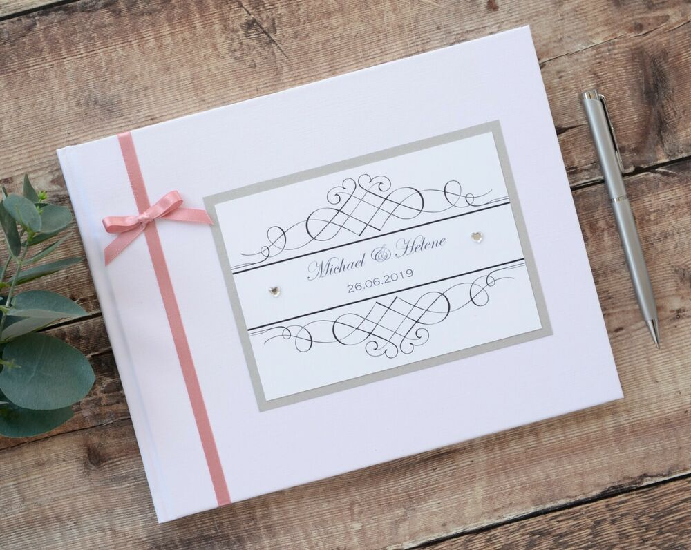White Or Ivory Personalised Wedding Guest Book