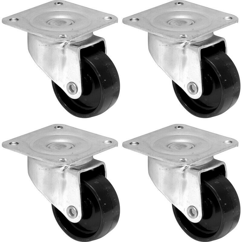 Pack Of 2 Sizes Metal Castor Wheels Cabinet Casters Table Chair Furniture Ebay