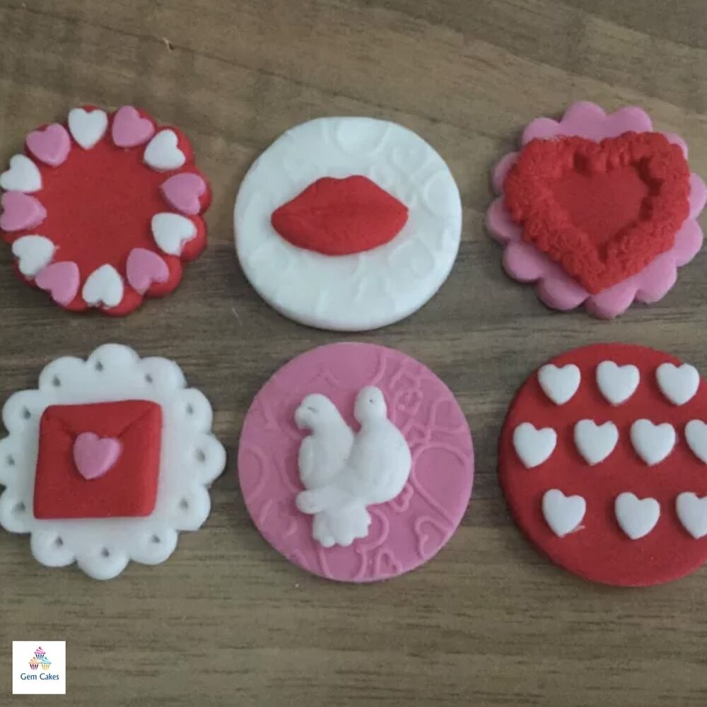 6 Valentines Day Edible Sugar Cup Cake Decorations Toppers ...
