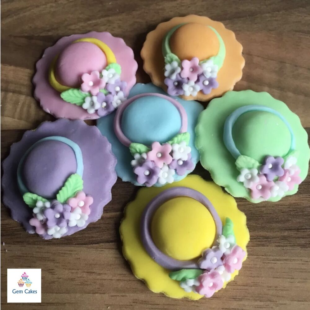 Easter Cake Edible Decorations : 6 Edible Easter Bonnets Pastel Sugar Cake Decorations ...