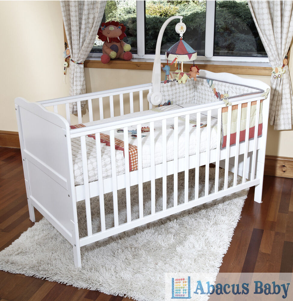 new baby white cot bed foam mattress cotbed nursery furniture junior bed ebay. Black Bedroom Furniture Sets. Home Design Ideas