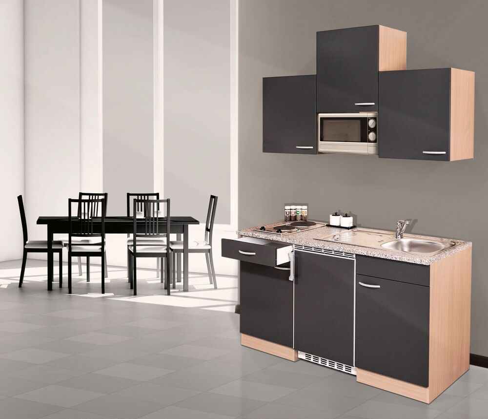 respekta k che mini single k chenzeile k chenblock 150 cm buche grau mikrowelle ebay. Black Bedroom Furniture Sets. Home Design Ideas
