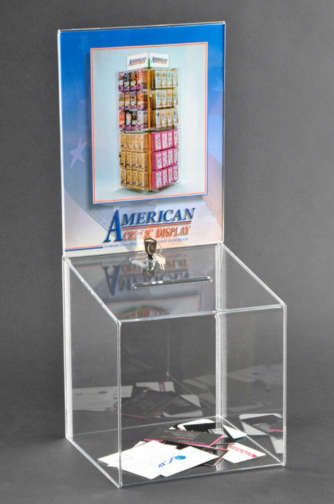 clear acrylic ballot box with 2 keys and sign holder  a1