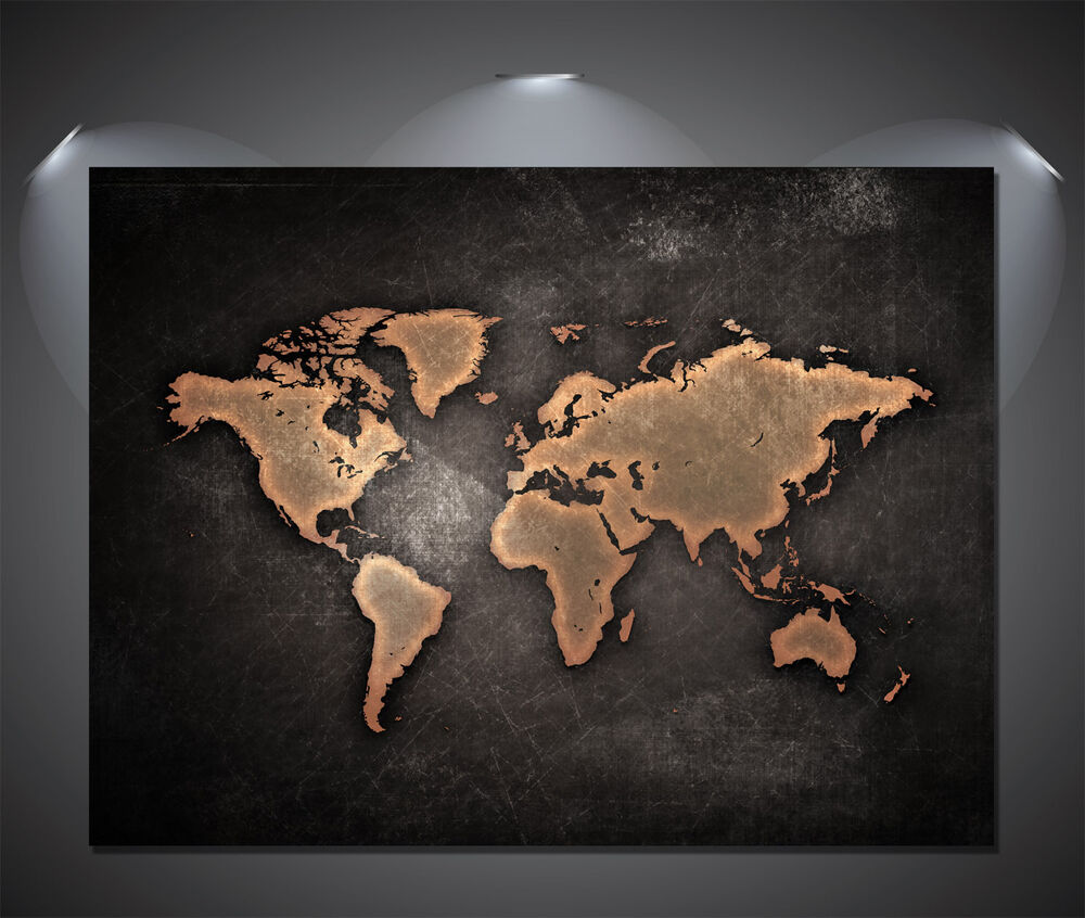 VINTAGE World Map Poster NERO A0 A1 A2