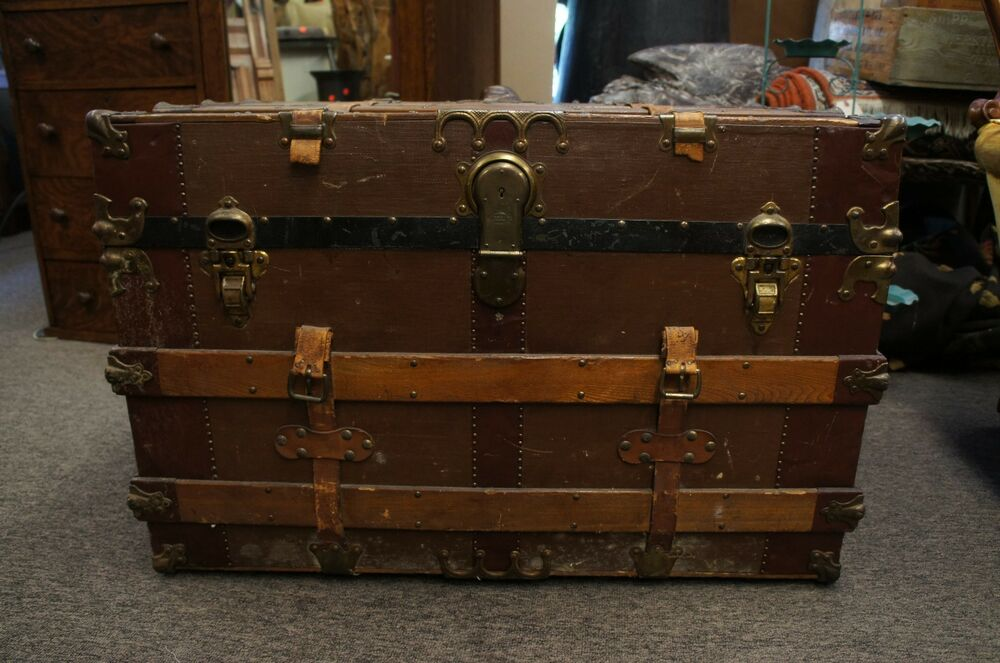Massive antique victorian canvas leather steamer trunk w original tray - Leather chests and trunks ...