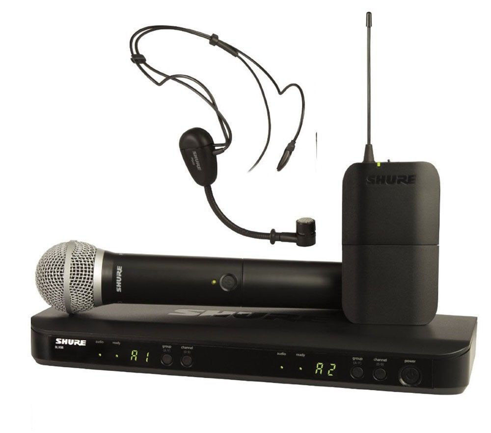 new shure blx1288 p31 dual headset handheld uhf wireless microphone system ebay. Black Bedroom Furniture Sets. Home Design Ideas