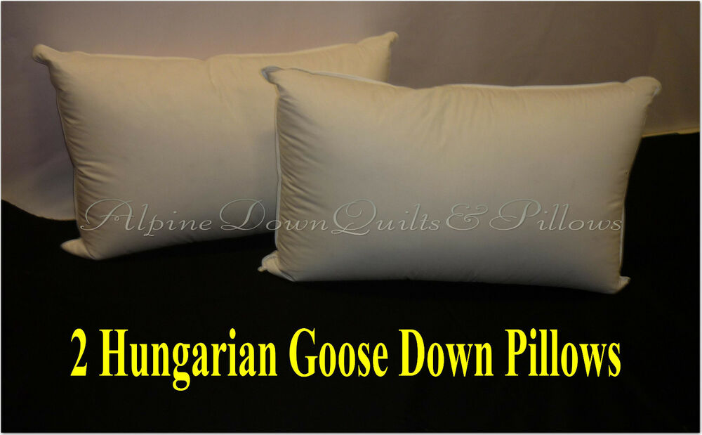 2 X King Size Pillows 95 Hungarian Goose Down 100 Cotton