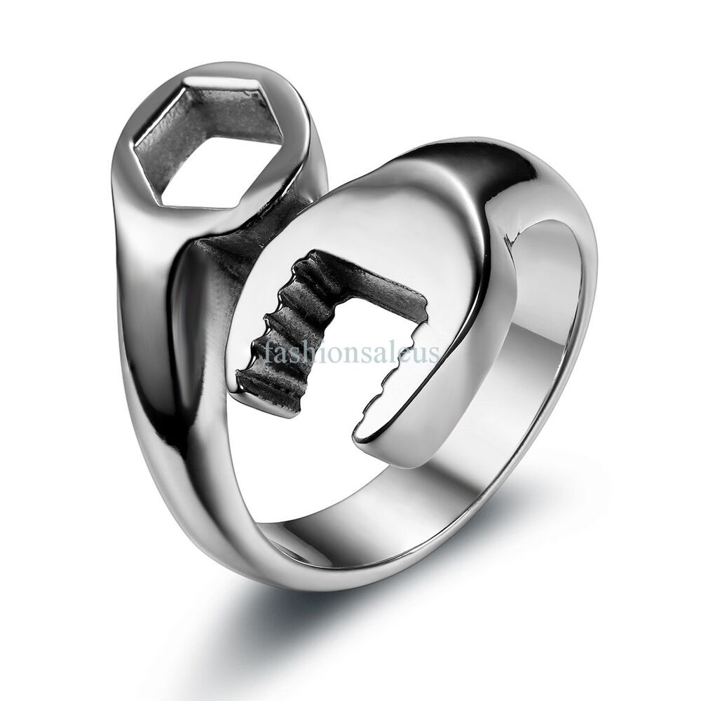 1PC Silver Tone Stainless Steel Biker Mechanic Wrench Ring
