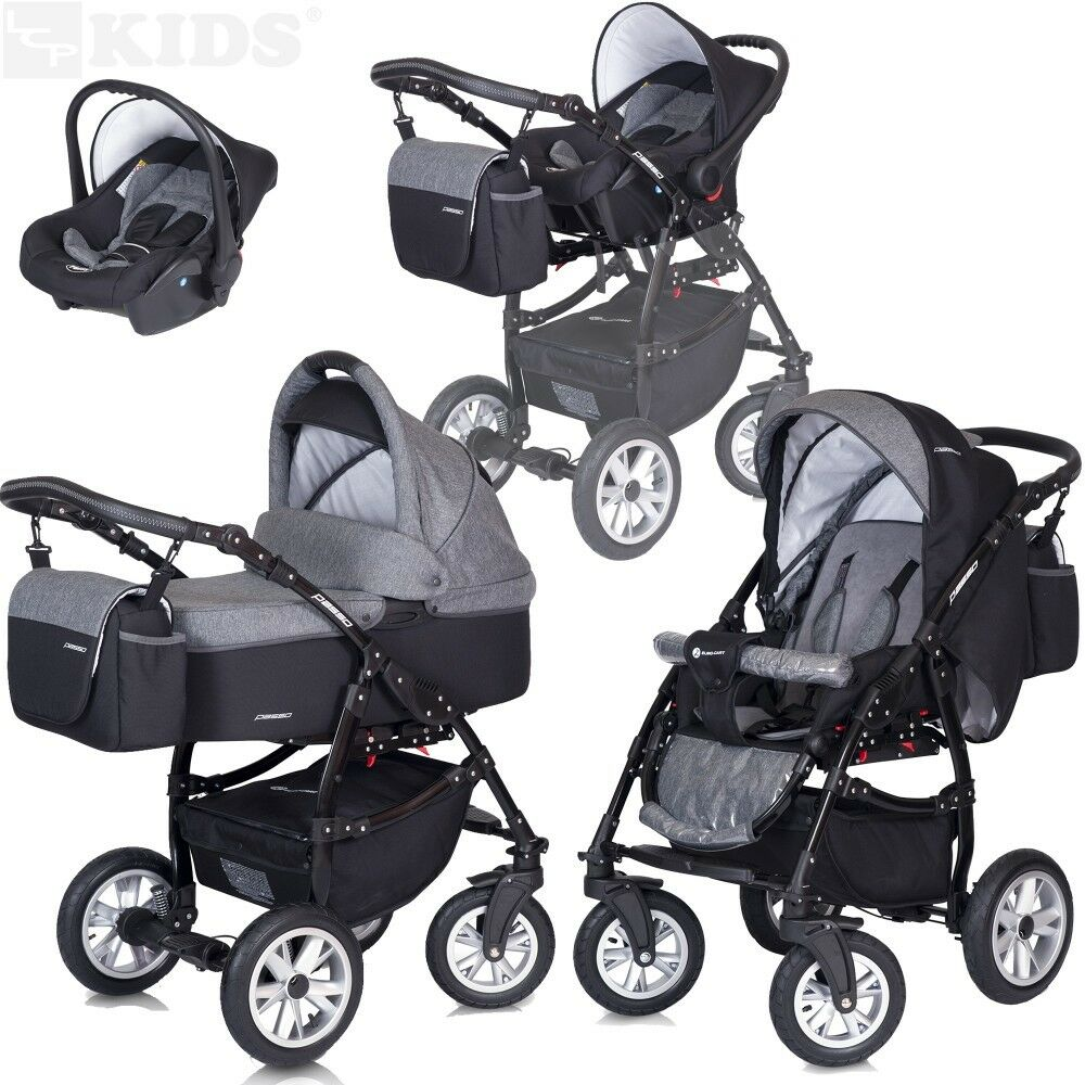 kombi kinderwagen 3in1 mit babyschale wanne buggy passo spazierwagen schwenkrad ebay. Black Bedroom Furniture Sets. Home Design Ideas