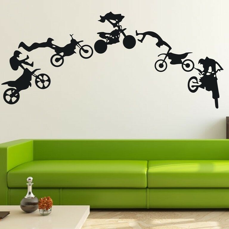 Motocross motor bike wall decor removable home vinyl decal for Dirt bike wall mural
