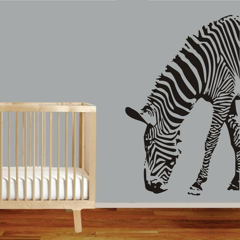 Large Size Zebra Wall Decor Removable Home Vinyl Kids Baby