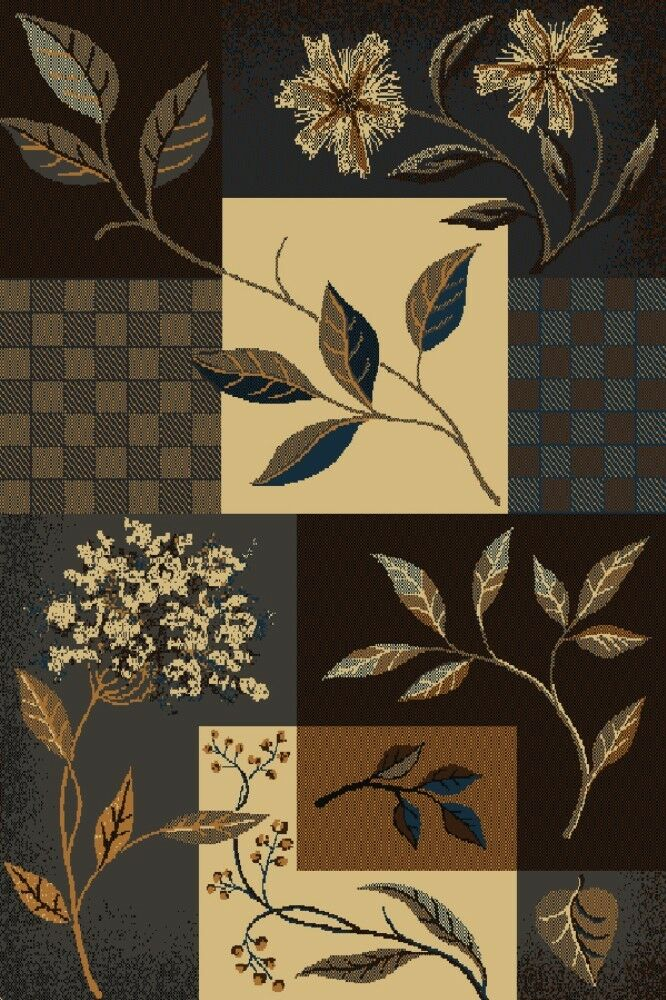 Jasmine Flowers And Leaves Brown Beige Blue Grey 5x8 Area