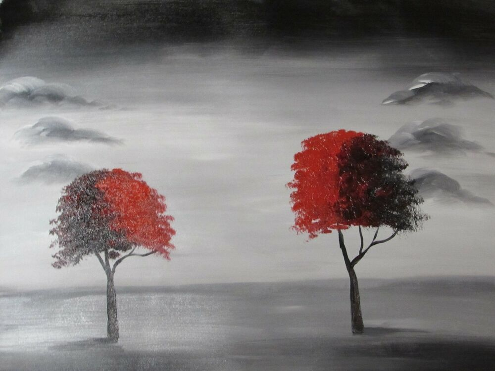 Minimal black white red landscape trees large oil painting for Black white canvas paintings