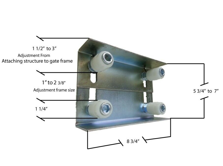 Flat Top Gate Roller Guide Assembly Adjustible Sliding