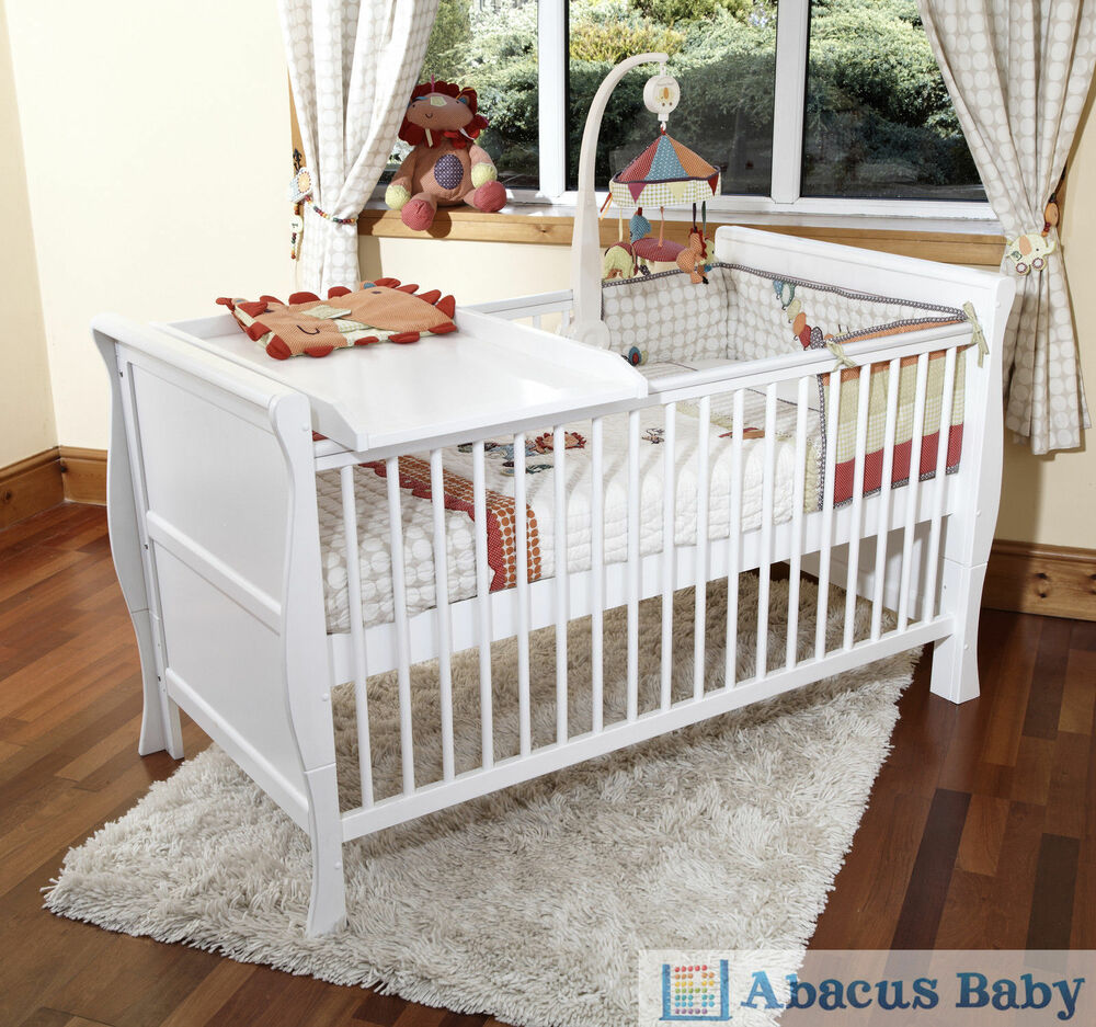 new baby white scarlett sleigh cot bed cotbed foam. Black Bedroom Furniture Sets. Home Design Ideas