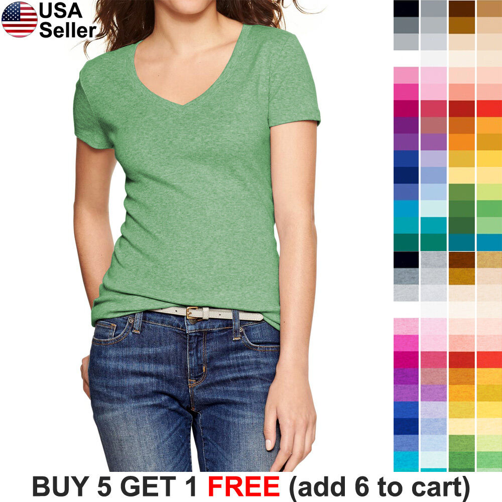 Basic V Neck T Shirt Solid Color Plain Top Stretch Layer Fitted