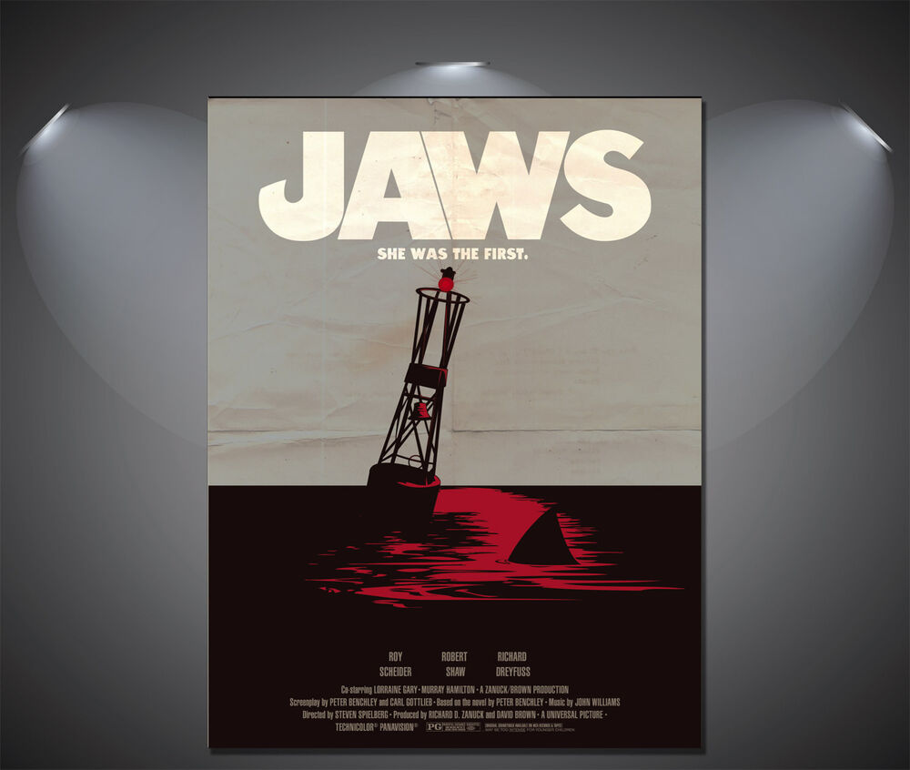 Art Deco Posters: JAWS Movie Large Vintage Art Deco Poster