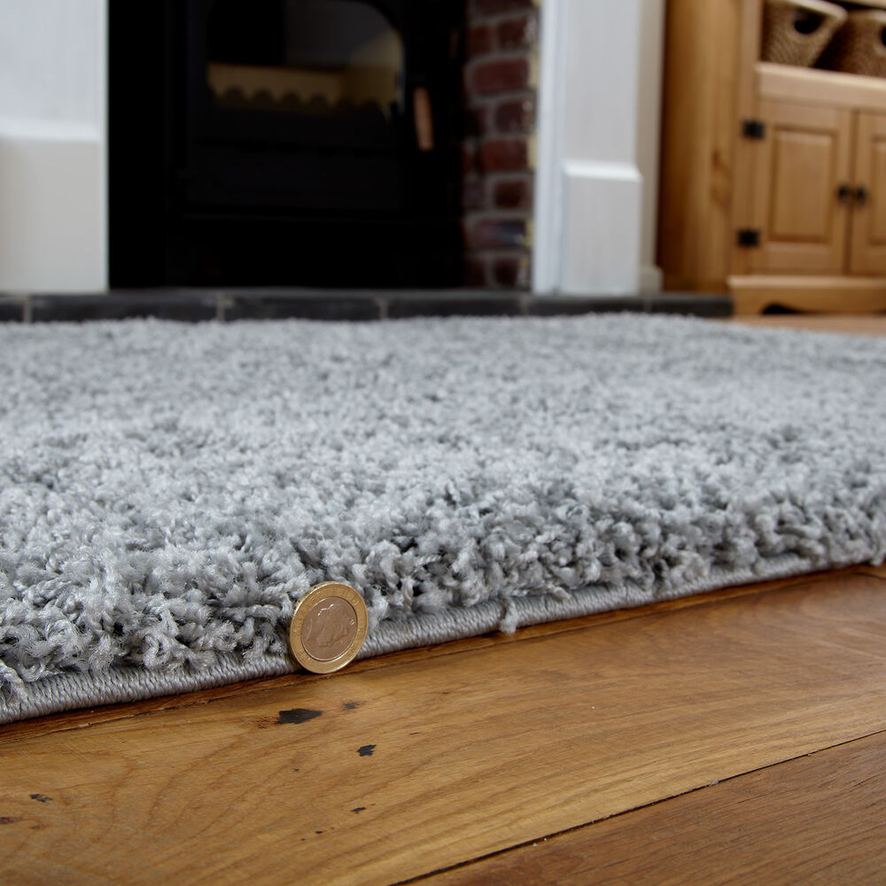 Black And White Rug Ebay Uk: THICK SHAGGY RUG SILVER / GREY SIZE