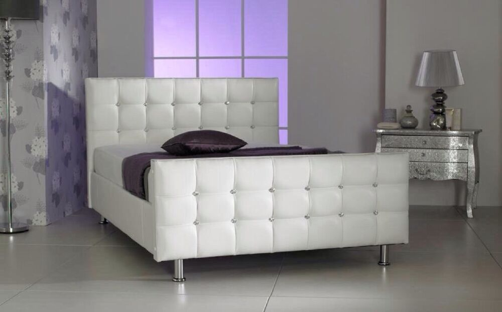 White Leather Bed With Swarovski Crystals
