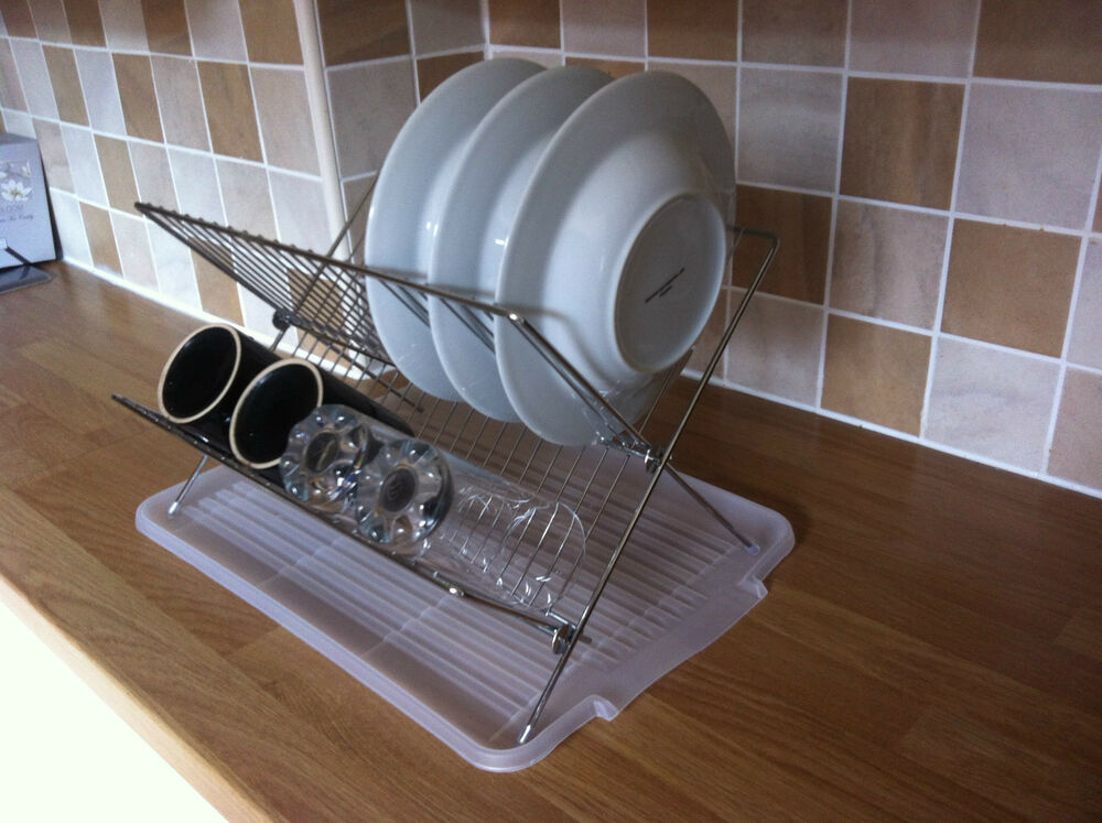 Folding steel dish drainer drying rack sink tidy organiser tray space saving new ebay - Dish rack for small space collection ...