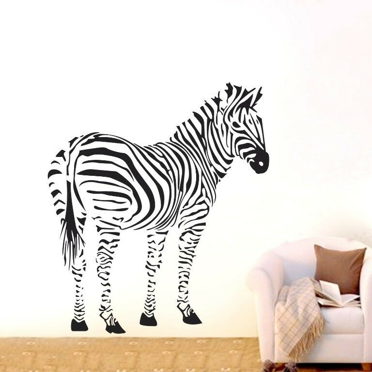 One Large Zebra Wall Decor Removable Vinyl Decal Kids Boy