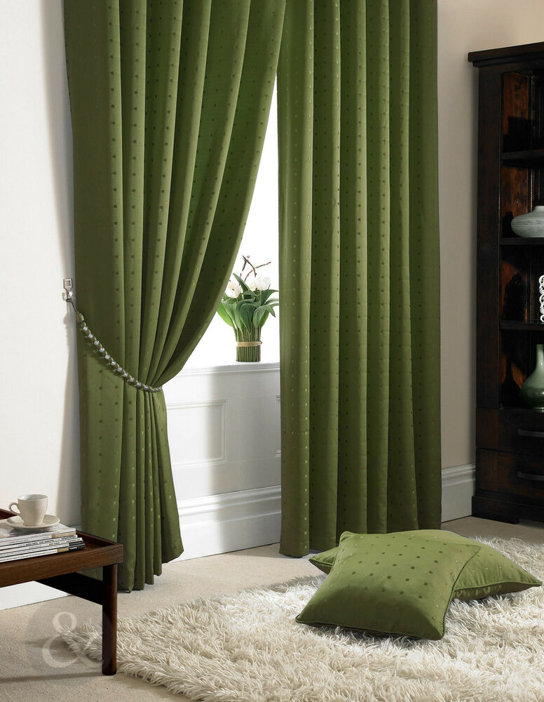 Fully Lined Jacquard Curtains Green Faux Silk Pencil