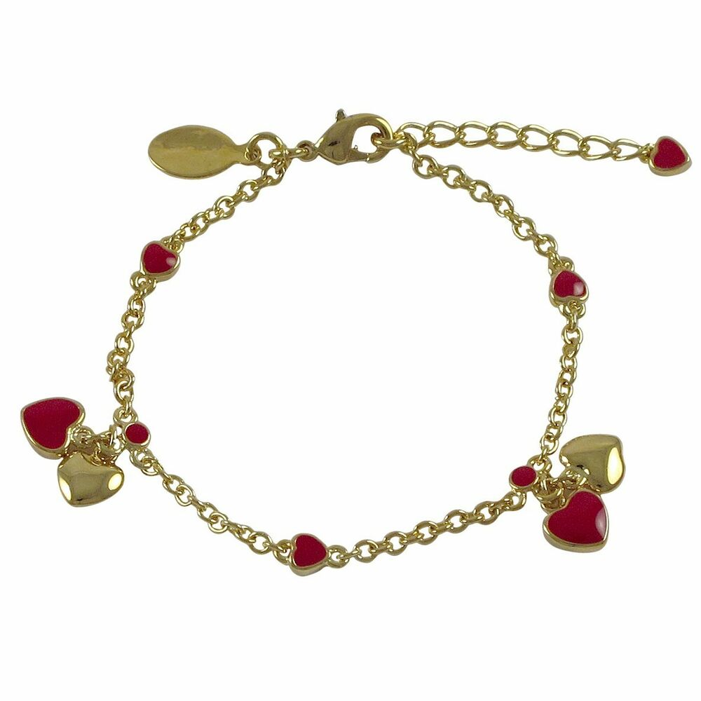 Bracelet With Hearts: Gold Plated Red Enamel Hearts Kids Girls Charm Bracelet