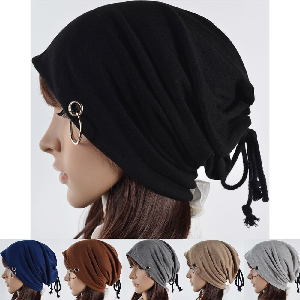 Girl Ring Bandage Beanie Baggy Hat Skull Cap Cotton