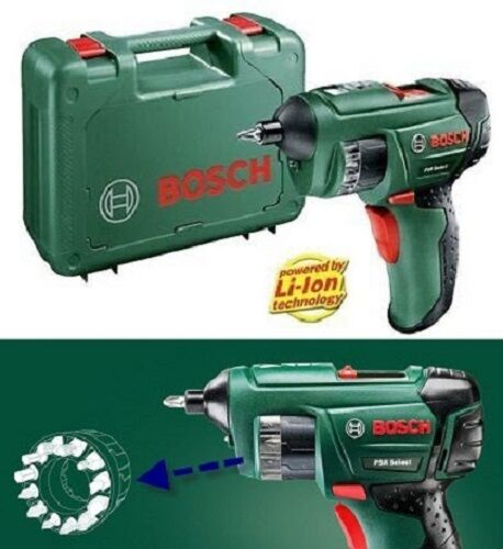 bosch psr select 3 6 v 240 v lithium ion cordless screwdriver ebay. Black Bedroom Furniture Sets. Home Design Ideas