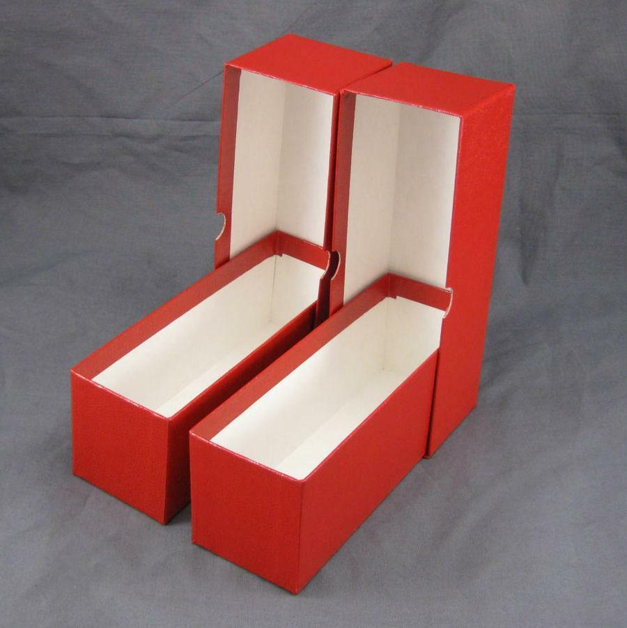 2 Red Cardboard Coin Slab Storage Boxes For NGC PCGS And