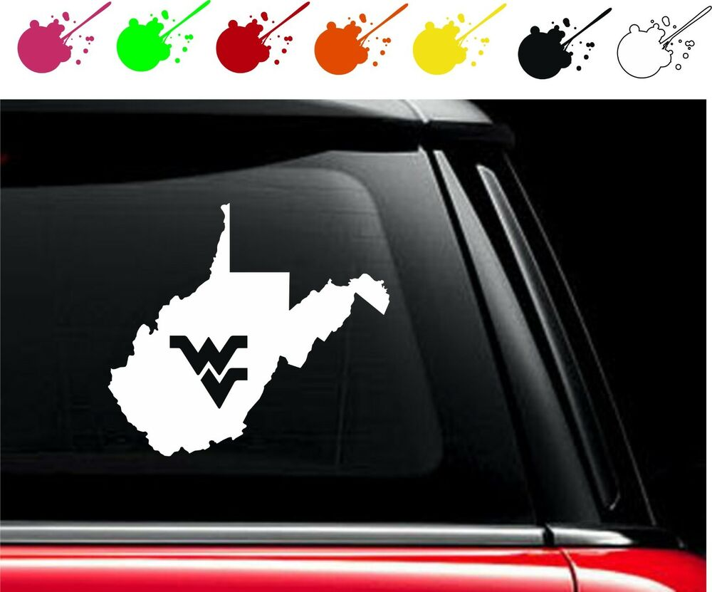 wv decal vinyl car truck window sticker wvu west virginia state flying wv love ebay. Black Bedroom Furniture Sets. Home Design Ideas