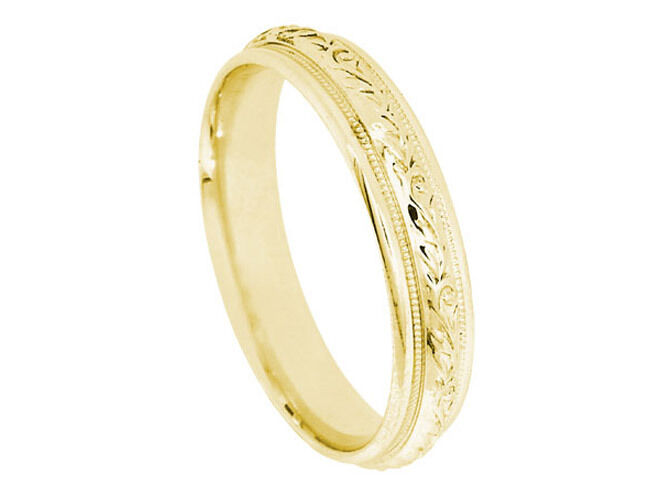 14k yellow gold floral 4 8mm comfort fit wedding band ebay