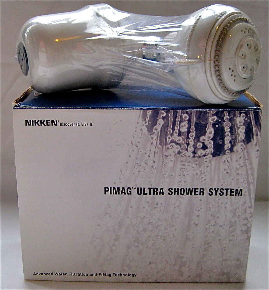 nikken pimag ultra shower system 1383 advanced water filtration wall mount head ebay. Black Bedroom Furniture Sets. Home Design Ideas