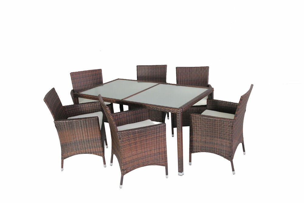 Evre Rattan Outdoor Dining Set Glass Topped Table 6 Chairs Brown