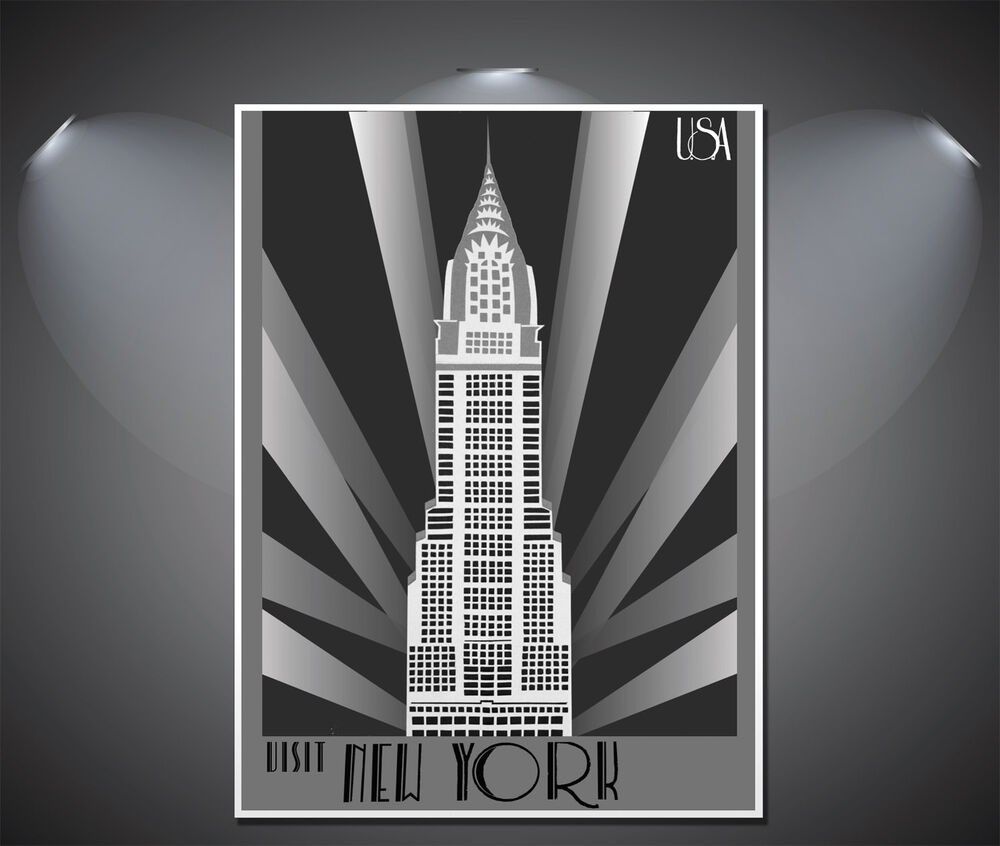 New york art deco poster a0 a1 a2 a3 a4 sizes ebay for Deco new york