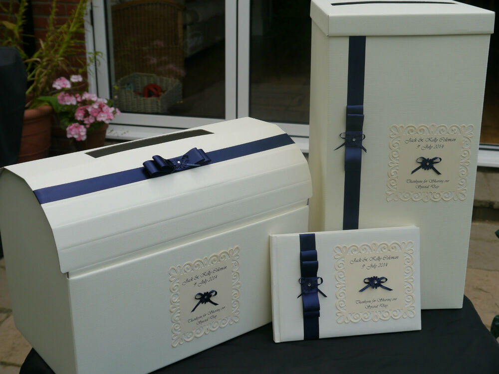 Wedding card post box and guest book ribbon daisy flower navy – Post Boxes for Wedding Cards