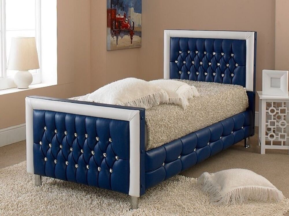 Luxury blue kids toddler childrens crystal diamond bed for Childrens beds for sale