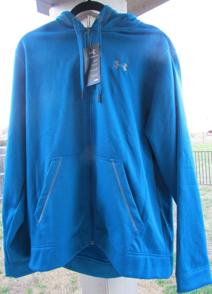 New under armour mens xl blue zip front cold gear hoodie for Under armour cold gear shirt mens