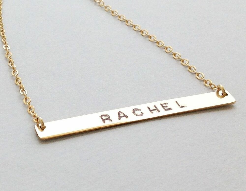 nameplate necklace personalized bar necklace gold