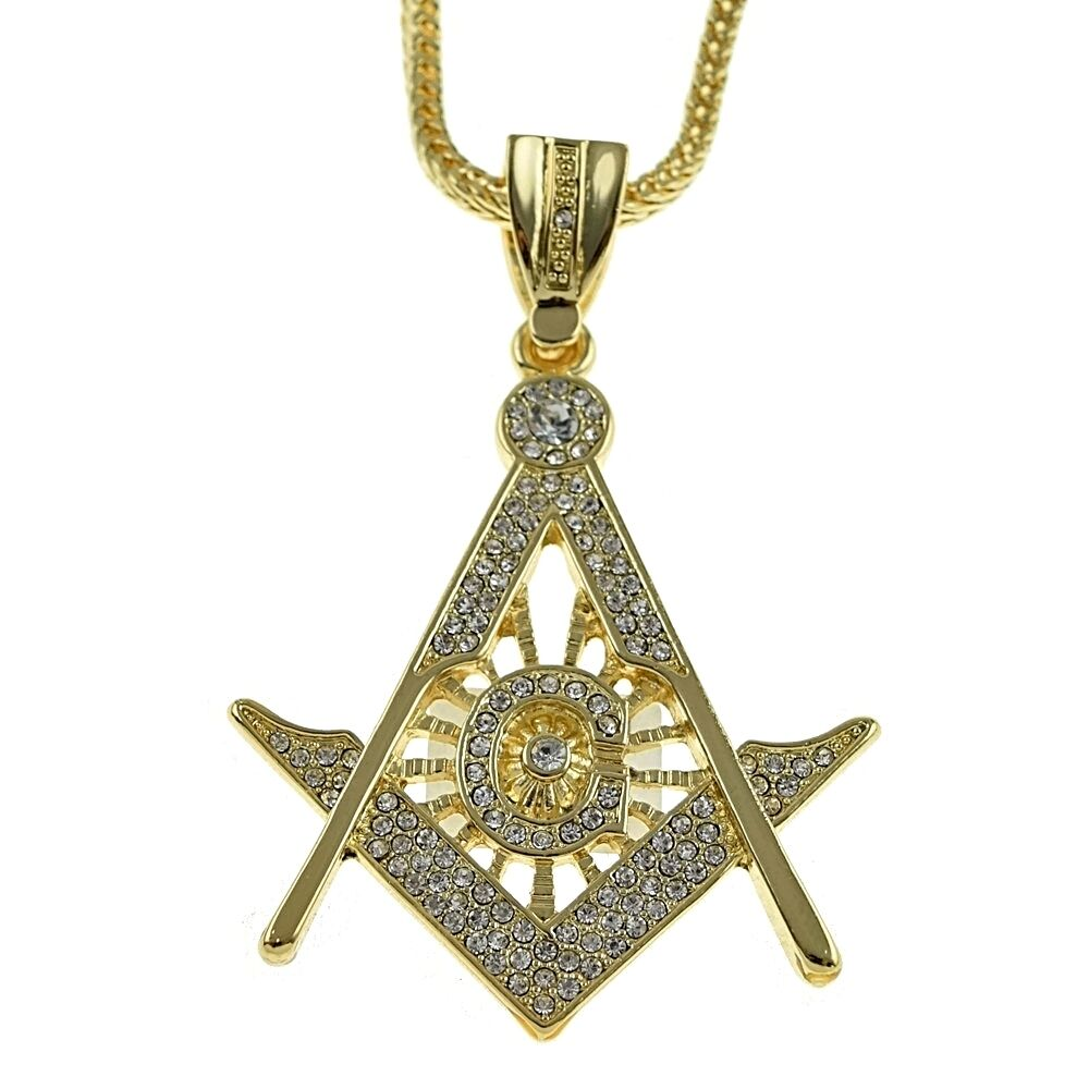 big masonic iced out pendant gold finish hip hop 36