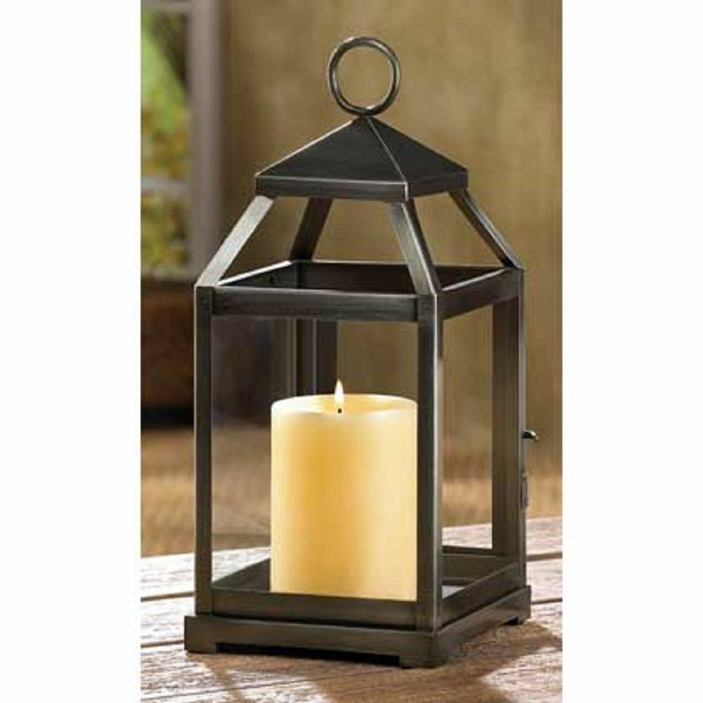 15 RUSTIC SILVER CONTEMPORARY CANDLE LANTERN TABLE DECOR