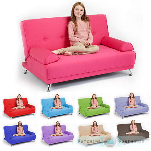 childrens cotton twill clic clac sofa bed with armrests futon sofabed kids guest ebay. Black Bedroom Furniture Sets. Home Design Ideas